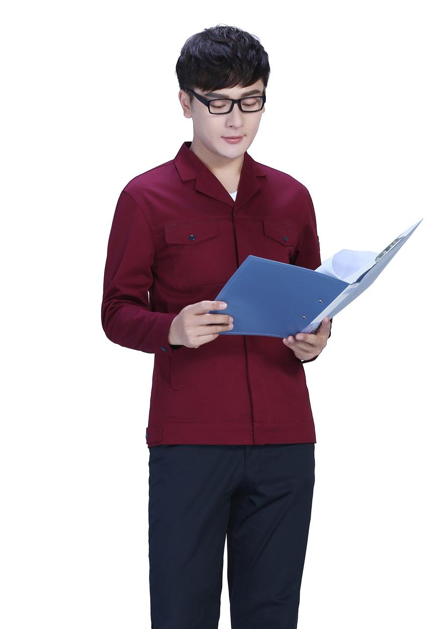 黄色上衣+藏蓝裤春秋工作服FY8001