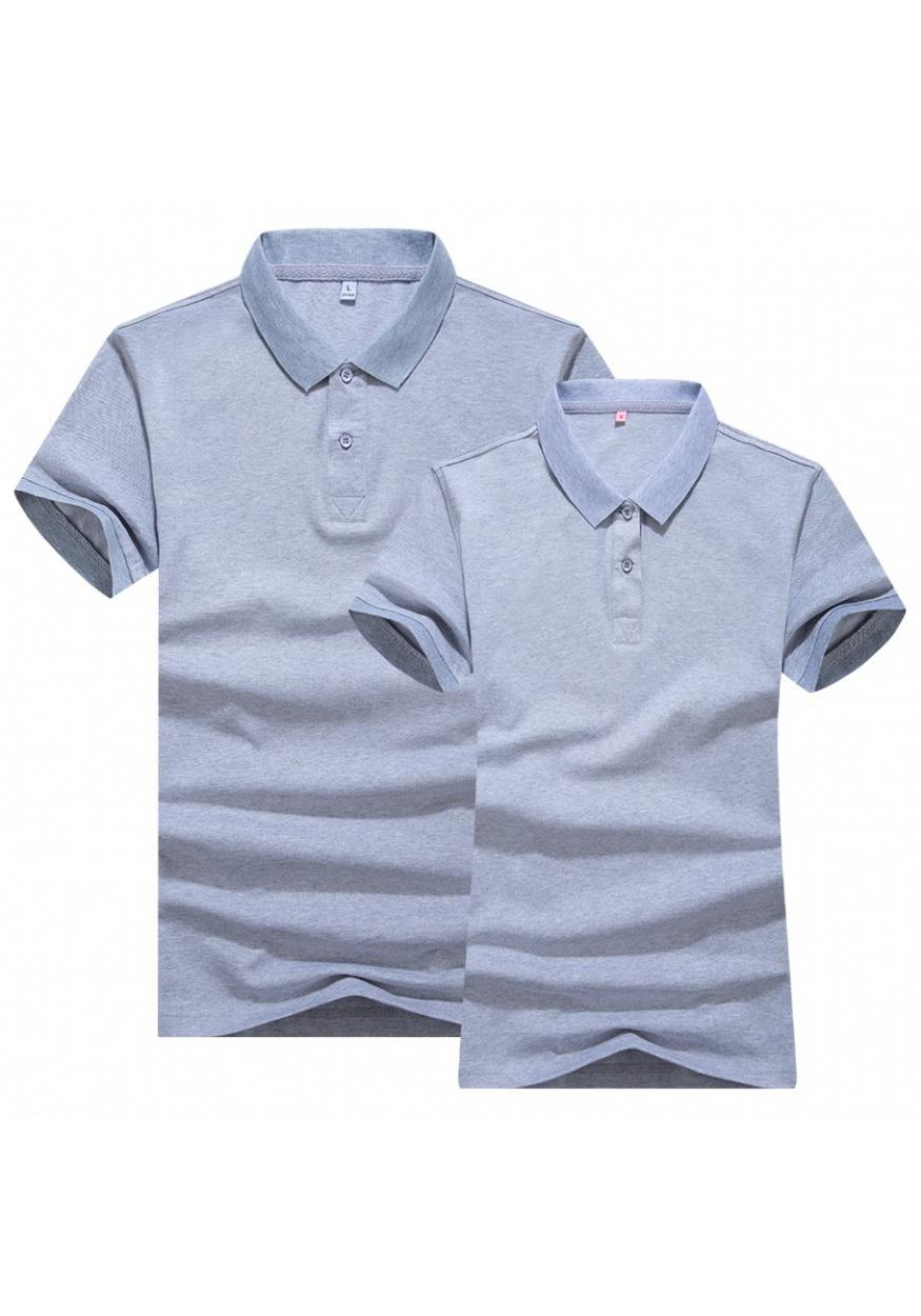 麻灰双色丝光POLO衫T恤