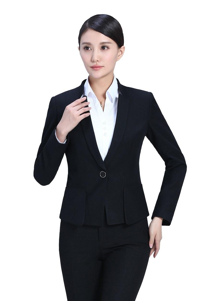 女士黑色修身职业装