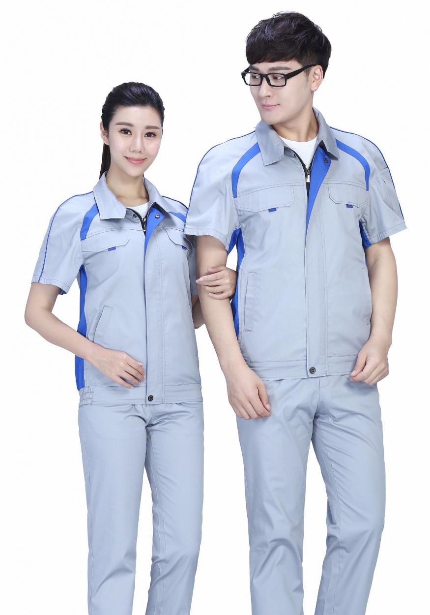银灰色夏季涤棉细纹短袖工作服FY635