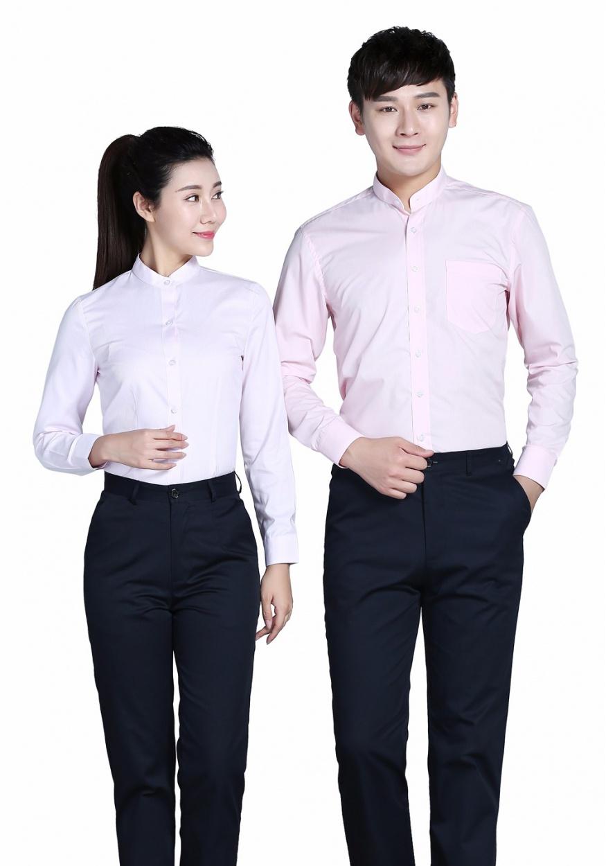 新款衬衫粉色女粉色立领长袖衬衫