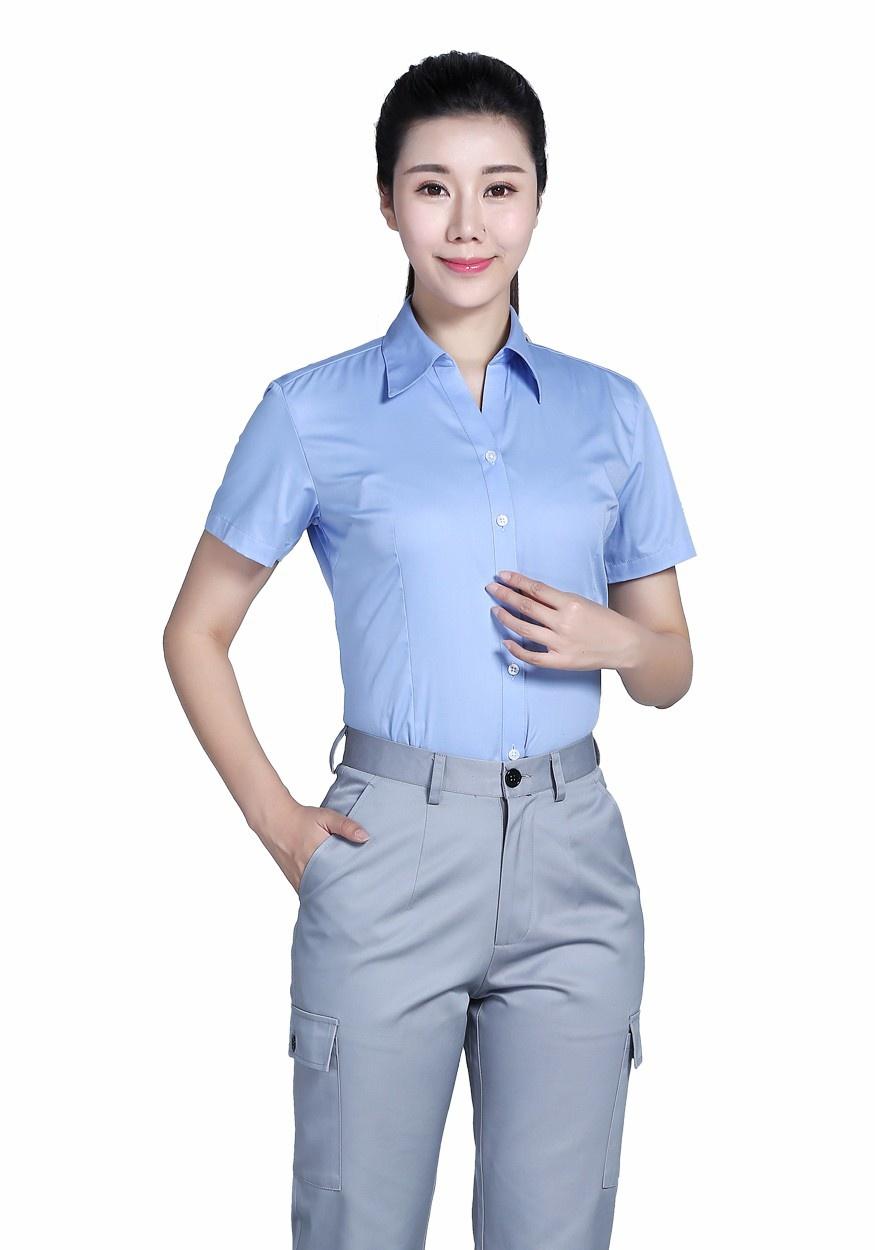 新款衬衫湖蓝女全棉蓝色V领短袖衬衫